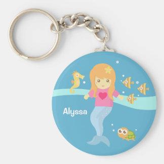 Porte-clés Petite fille mignonne de sirène sous la mer