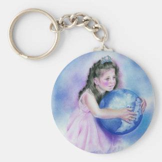 Porte-clés Petite fille tenant le porte - clé de la terre de