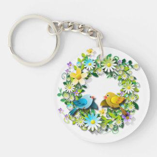 Porte-clés Petits oiseaux dans un Laurier