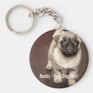Porte-clés Photo personnalisée de chien de carlin et votre