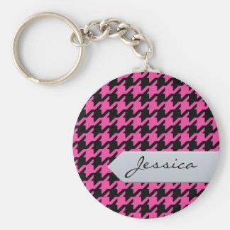 Porte-clés Pied-de-poule rose classique élégant avec le