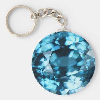 Porte-clés Pierre porte-bonheur bleue en cristal de décembre