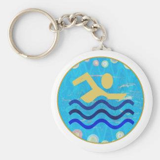 Porte-clés Piscine de nageur de bain : Piscine
