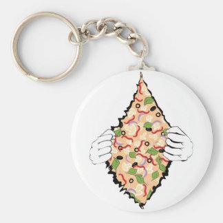 Porte-clés Pizza savoureuse de bande dessinée et Hands4