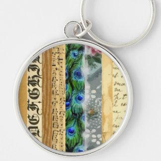 Porte-clés Plumes de paon, fleurs, feuille, notes de musique