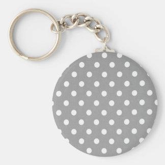 Porte-clés Point de polka blanc s sur l'arrière - plan gris