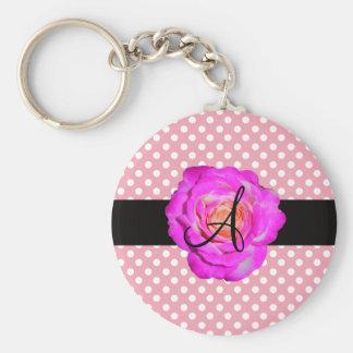 Porte-clés Pois de rose de monogramme de rose de roses indien