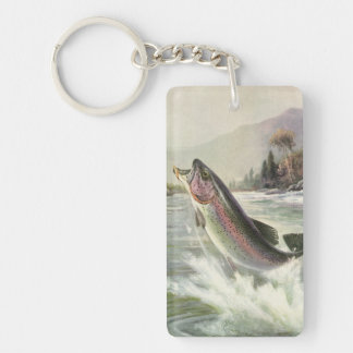 Porte-clés Poissons vintages de truite arc-en-ciel, pêche de