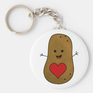 Porte-clés Pomme de terre heureuse, amour et coeurs de