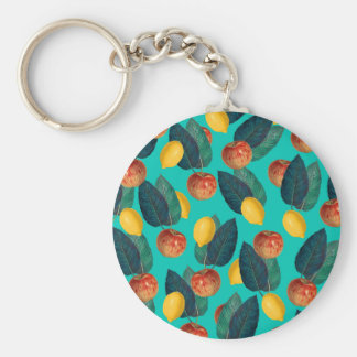 Porte-clés pommes et citrons turquoises