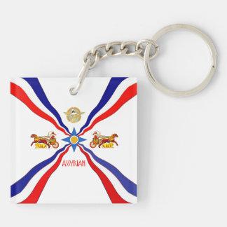 Porte-clés Porte - clé assyrien d'acrylique de drapeau