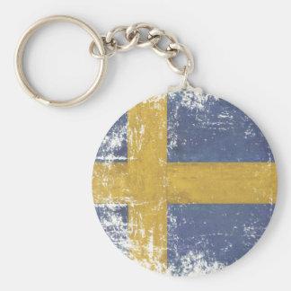 Porte-clés Porte - clé avec le drapeau vintage sale de Suède