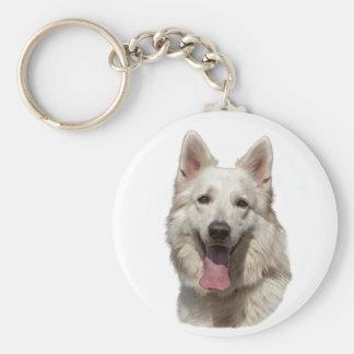 Porte-clés porte - clé blanc de berger allemand