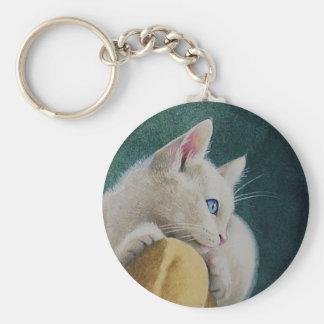 Porte-clés Porte - clé blanc de chaton