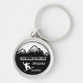 Porte-clés Porte - clé blanc noir d'art de surf des neiges de