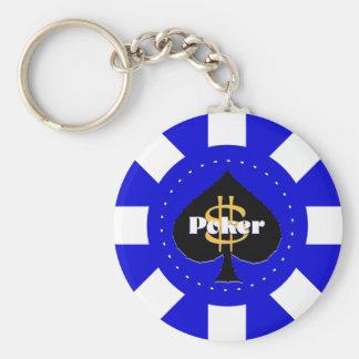 Porte-clés Porte - clé bleu de jeton de poker