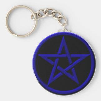 Porte-clés Porte - clé bleu de pentagone étoilé