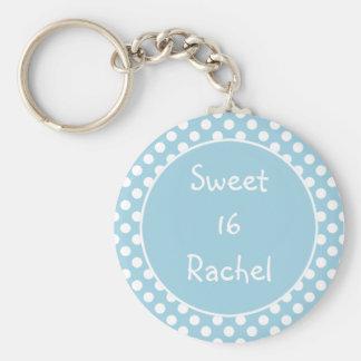 Porte-clés Porte - clé bleu du bonbon 16 à point de polka