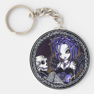 Porte-clés Porte - clé bleu gothique d'ange de crâne de
