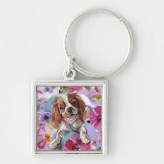 Porte-clés Porte - clé cavalier d'art de chien de blenheim de