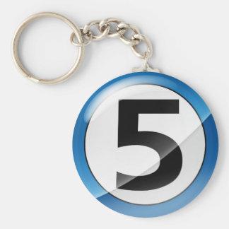 Porte-clés Porte - clé de bleu du numéro 5