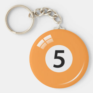Porte-clés Porte - clé de boule de piscine du numéro cinq