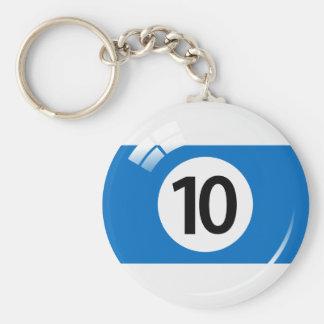 Porte-clés Porte - clé de boule de piscine du numéro dix