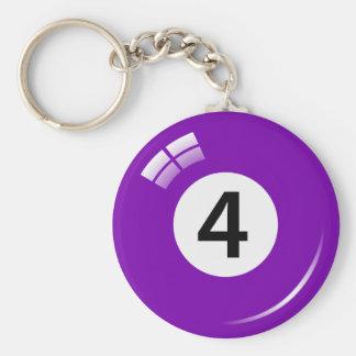 Porte-clés Porte - clé de boule de piscine du numéro quatre