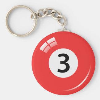 Porte-clés Porte - clé de boule de piscine du numéro trois