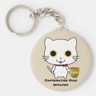 Porte-clés Porte - clé de bouton de caféine de chat haut