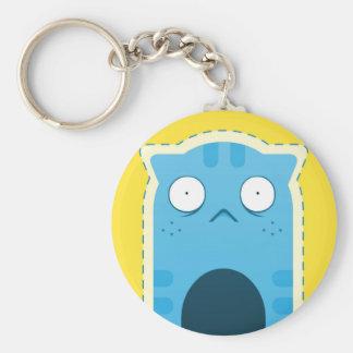 Porte-clés Porte - clé de bouton de chat bleu