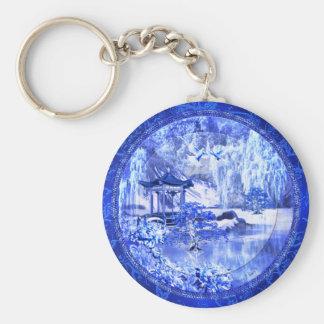 """Porte-clés Porte - clé de bouton """"du monde bleu de saule"""""""