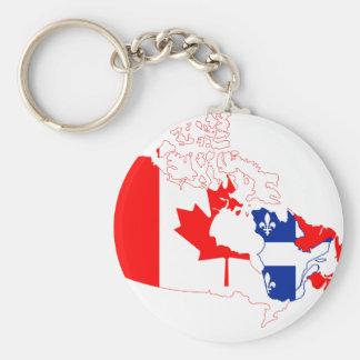 Porte-clés Porte - clé de drapeau de carte du Québec Canada
