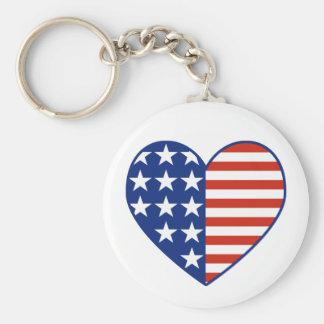 Porte-clés Porte - clé de drapeau de coeur des Etats-Unis
