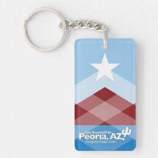 Porte-clés Porte - clé de drapeau de Peoria, rectangulaire
