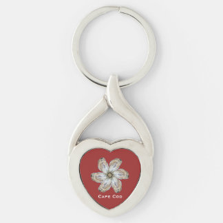 Porte-clés Porte - clé de fleur d'huître - concevez un rouge