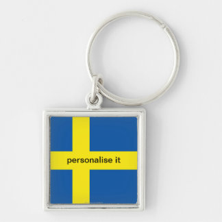 Porte-clés Porte - clé de luxe de drapeau suédois de la Suède