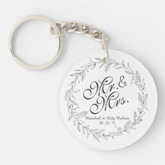 Porte-clés Porte - clé de M. et de Mme Simple Floral Wedding