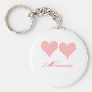 Porte-clés Porte - clé de Meemaw avec les coeurs roses