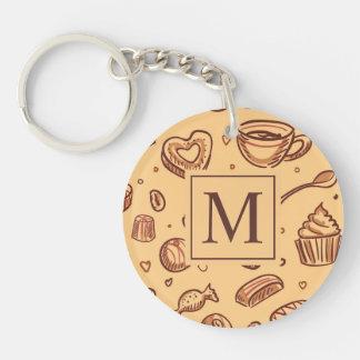Porte-clés Porte - clé de monogramme de desserts de chocolat