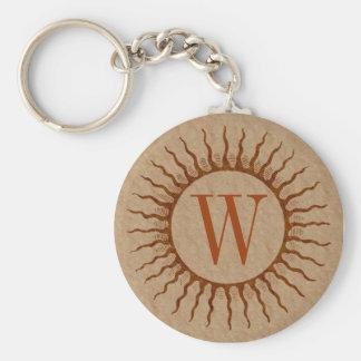 Porte-clés Porte - clé de monogramme de rayon de soleil