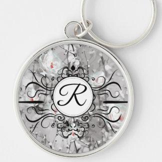 Porte-clés Porte - clé de monogramme d'impression de rose de