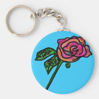 Porte-clés Porte - clé de rose de bleu de ciel