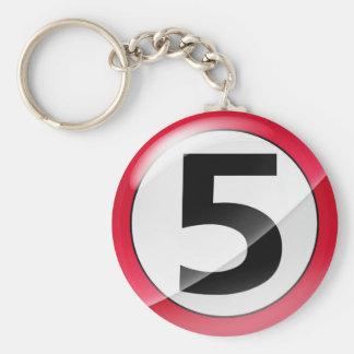 Porte-clés Porte - clé de rouge du numéro 5