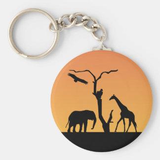 Porte-clés Porte - clé de silhouettesunset d'éléphant et de