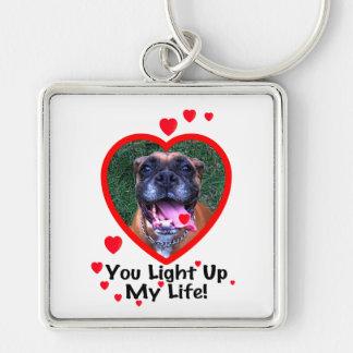 Porte-clés Porte - clé de sourire de carré de chien de boxeur