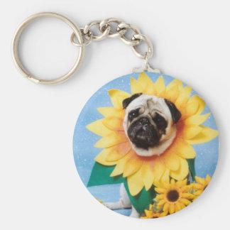 Porte-clés Porte - clé de tournesol de chien de carlin