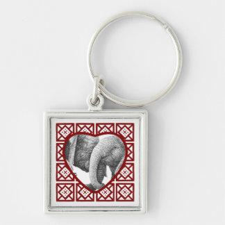 Porte-clés Porte - clé d'éléphants africains de coeur de