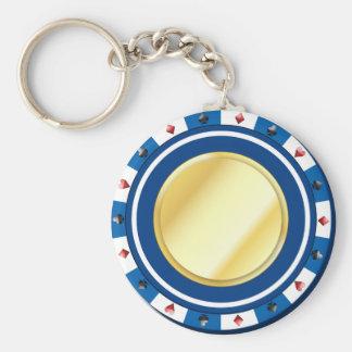 Porte-clés Porte - clé doré bleu de jeton de poker