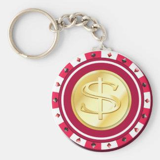 Porte-clés Porte - clé doré rouge de jeton de poker